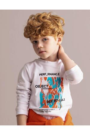 longsleeve Enrico met printopdruk wit/blauw/oranje