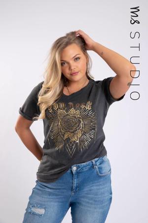 T-shirt met printopdruk en studs grijs