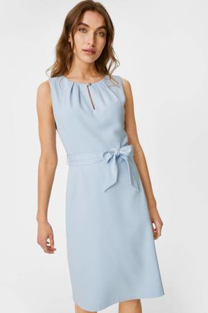 jurk met plooien lichtblauw