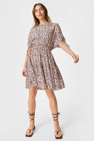 A-lijn jurk met all over print en plooien roze