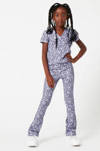 CoolCat Junior flared broek Philou met all over print lila/zwart, Lila/zwart