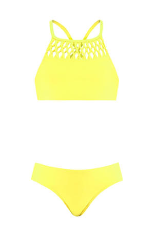 crop bikini met gevlochten details neon geel