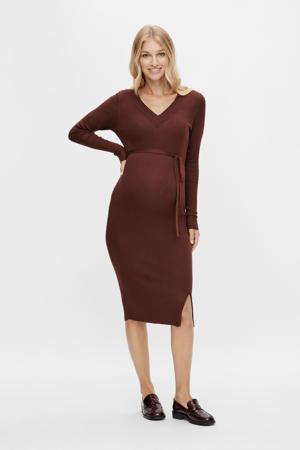 zwangerschapsjurk MLZOEY met ceintuur bruin