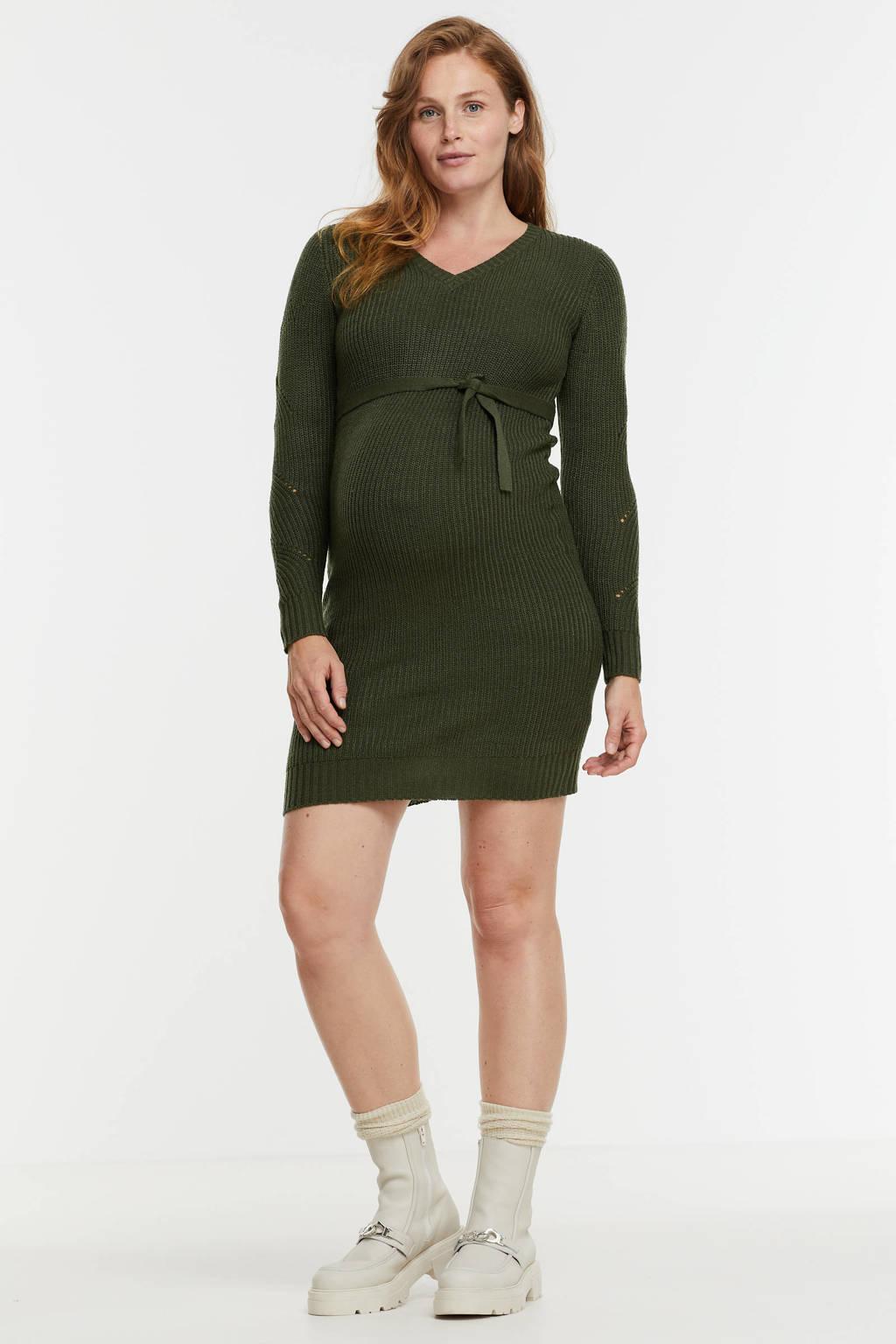 MAMALICIOUS gebreide zwangerschapsjurk MLLINA met ceintuur groen, Groen