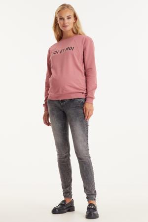 low waist slim fit jeans MLUTAH met biologisch katoen zwart stonewashed