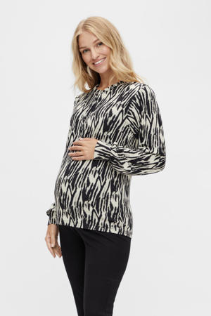 zwangerschapsblouse MLSEBRA met zebraprint wit/zwart