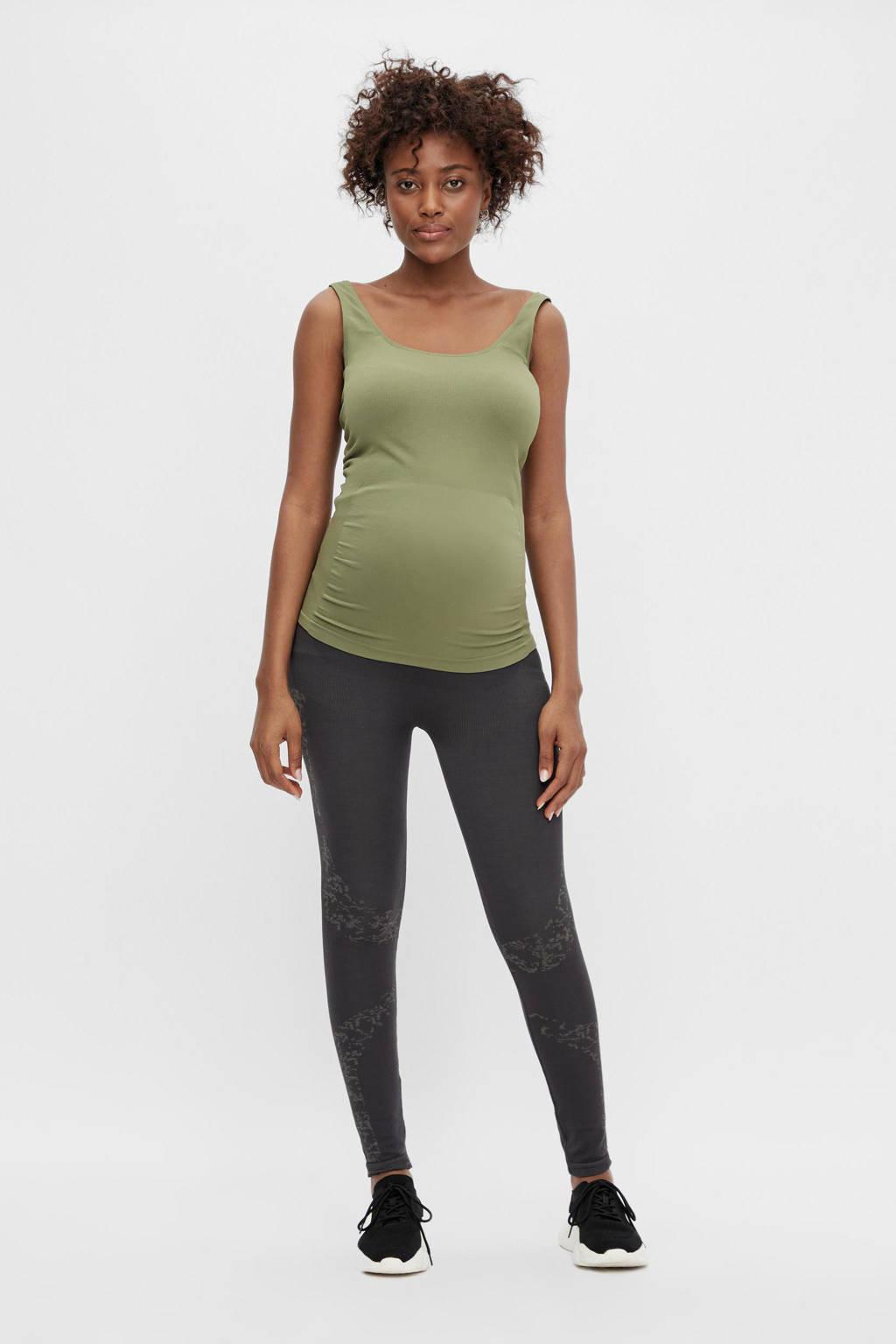 MAMALICIOUS skinny zwangerschaps sportlegging Delta met printopdruk grijs, Grijs