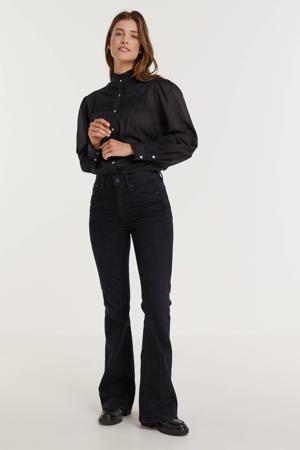3301 high waist flared jeans worn in deep water