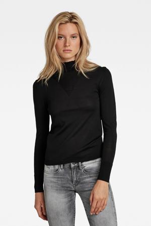 ribgebreide trui met biologisch katoen zwart