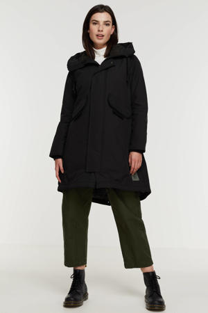 jas Hooded fishtail parka van gerecycled polyester zwart