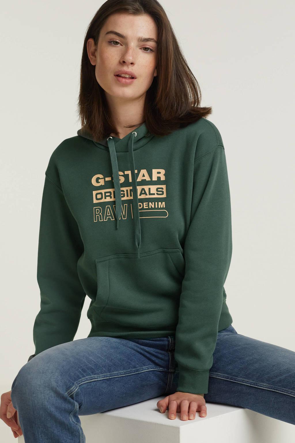 G-Star RAW hoodie met logo donkergroen, Donkergroen