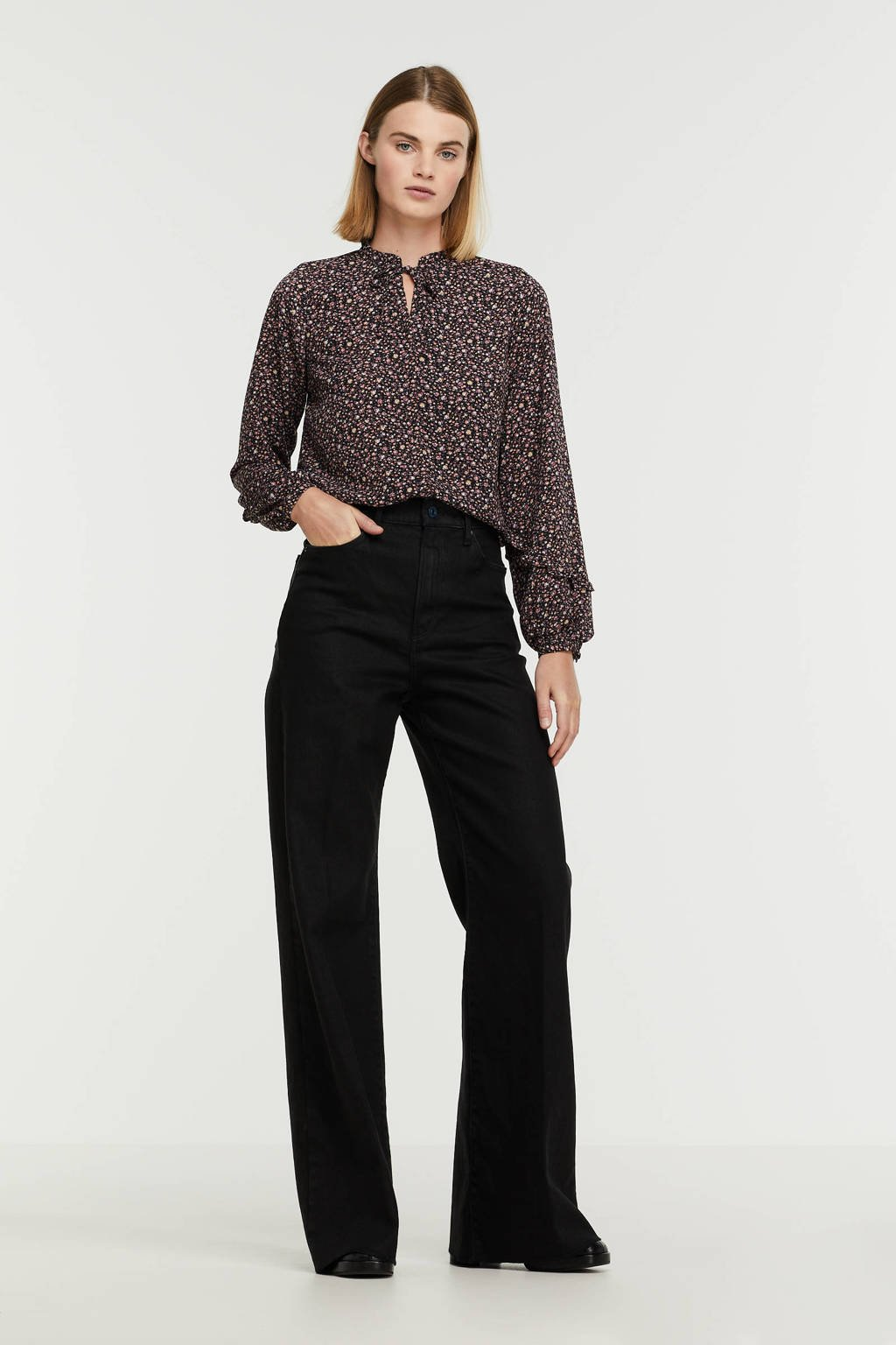 G-Star RAW Deck high waist wide leg jeans pitch black, PITCH BLACK