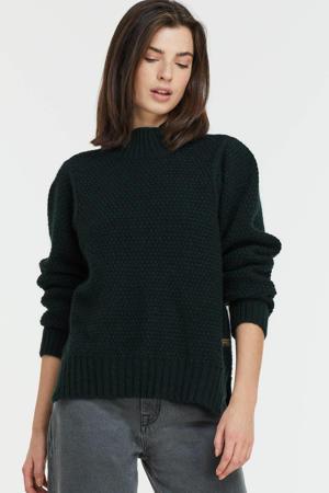 wollen trui Structure mock knit zwart