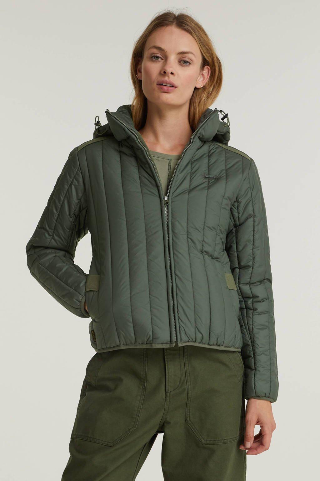 G-Star RAW gewatteerde jas Meefic vertical quilted jacket van gerecycled polyester antraciet, Antraciet