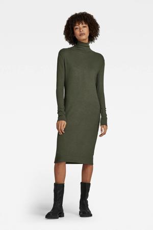 ribgebreide jurk Rib mock donkergroen