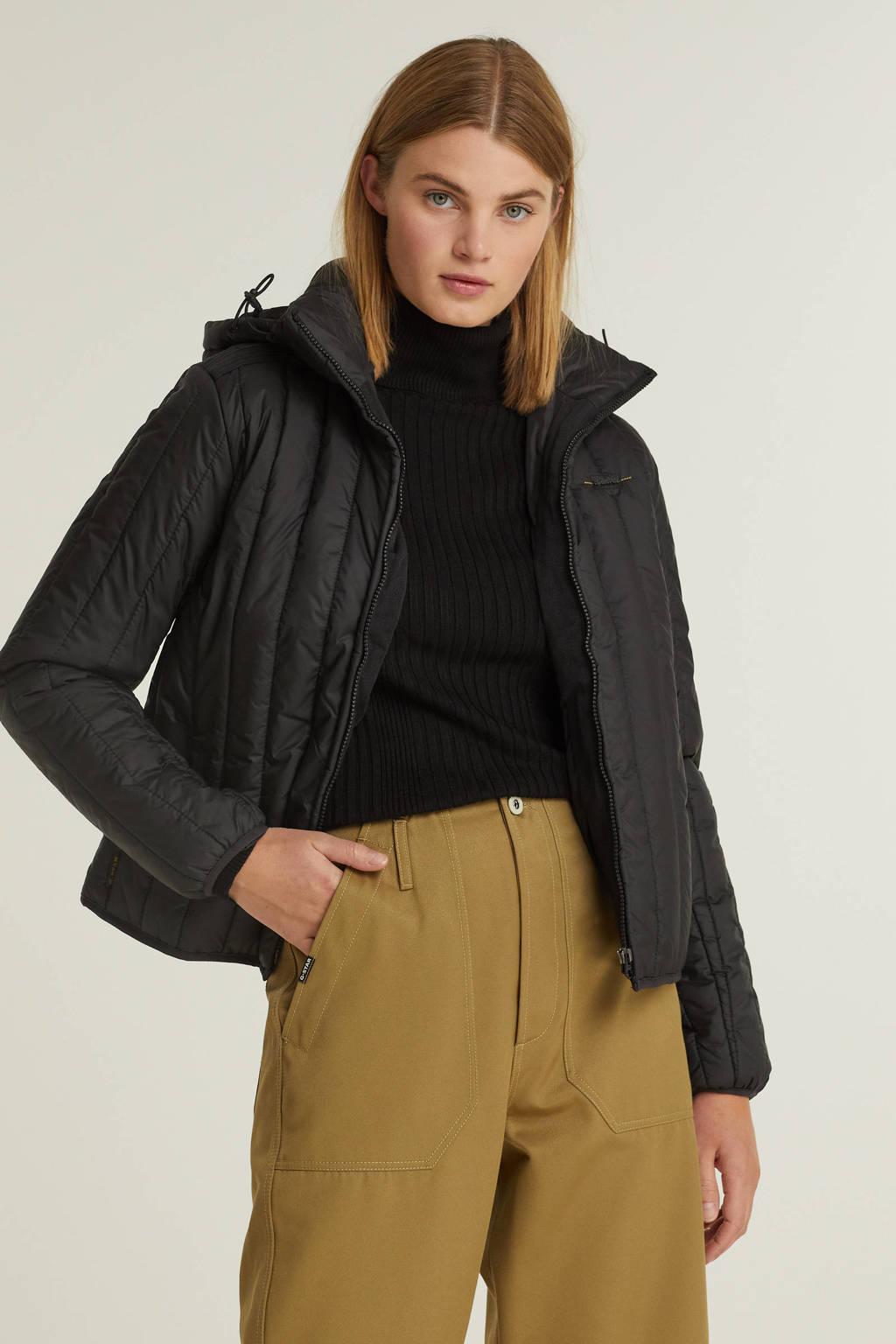 G-Star RAW gewatteerde jas Meefic vertical quilted jacket van gerecycled polyester zwart, Zwart