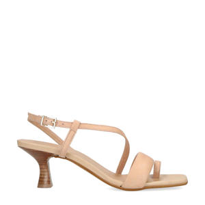leren sandalettes beige