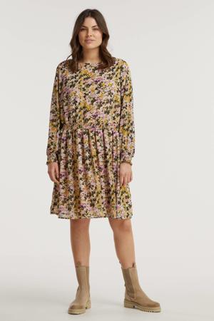 gebloemde semi-transparante jurk VMMINTI van gerecycled polyester lichtroze/zwart/okergeel