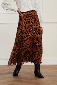 Fabienne Chapot semi-transparante midi rok Bobo Cato met panterprint bruin, Bruin