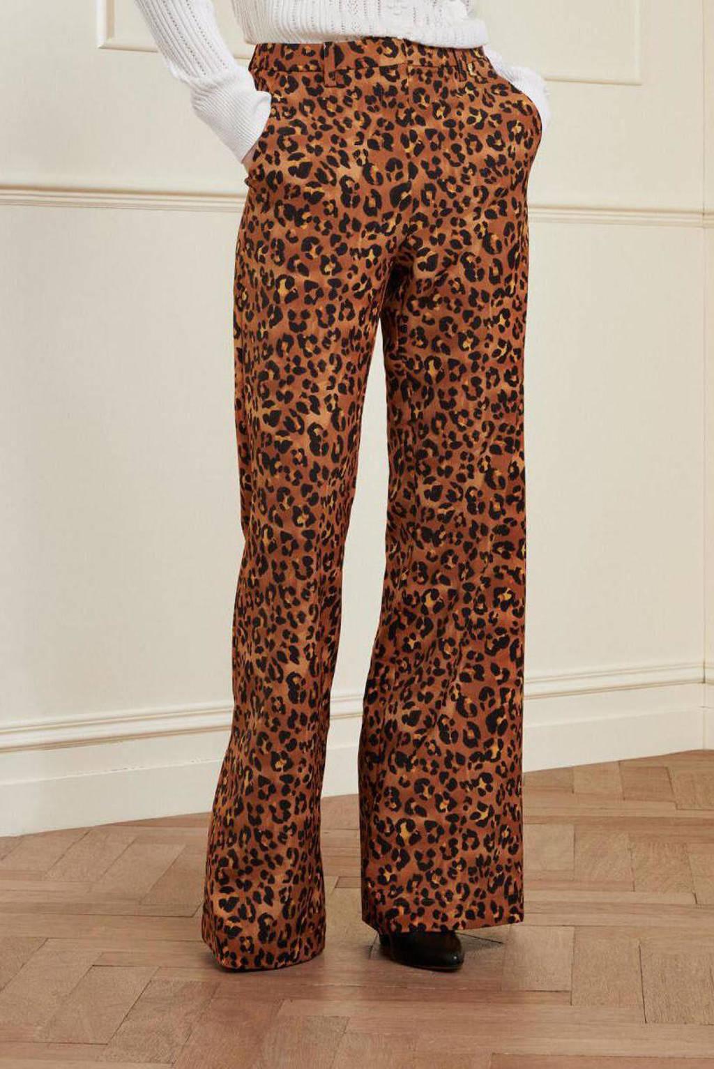 Fabienne Chapot high waist wide leg pantalon Puck van gerecycled polyester cognac/ zwart, Cognac/ zwart