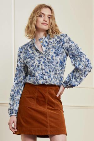gebloemde blouse Scallop blauw