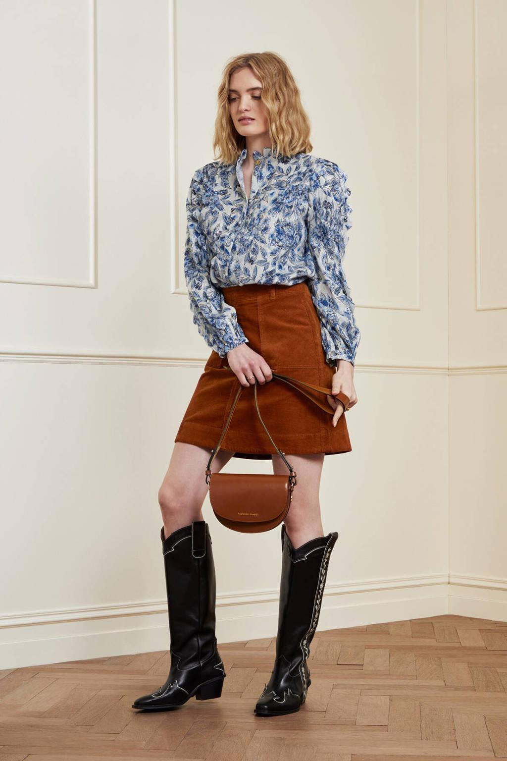 Fabienne Chapot gebloemde blouse Scallop blauw, Blauw