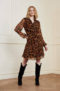 Fabienne Chapot blousejurk met panterprint en ceintuur bruin, Bruin