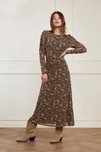 Fabienne Chapot gebloemde semi-transparante mesh jurk Bella zwart/ roze, Zwart/ roze