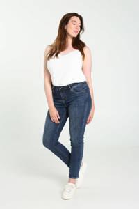 Cassis slim fit jeans met borduursels blauw, Blauw
