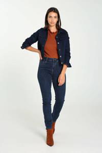 Cassis slim fit jeans met borduursels donkerblauw, Donkerblauw