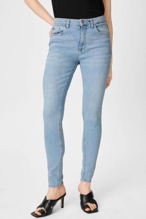 high waist skinny jeans met biologisch katoen lichtblauw