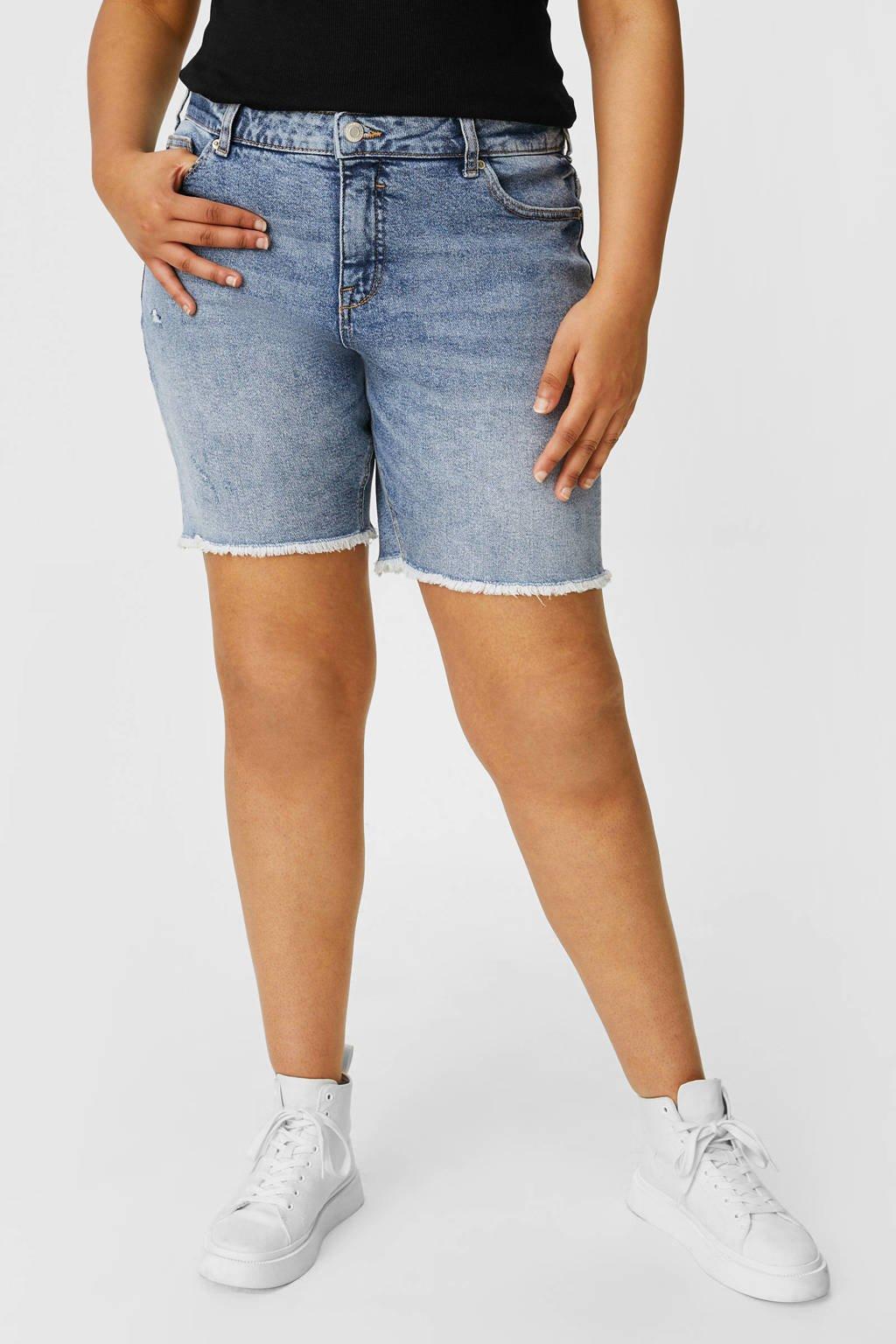C&A XL Clockhouse straight fit jeans short lichtblauw, Lichtblauw