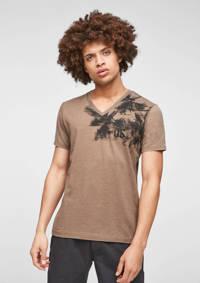 Q/S designed by T-shirt met printopdruk bruin, Bruin