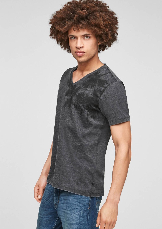 Q/S designed by T-shirt met printopdruk zwart, Zwart