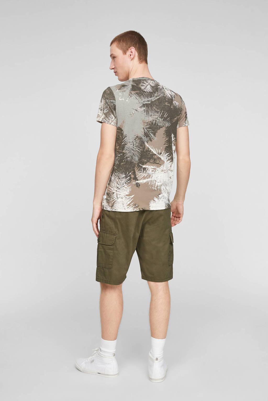 Q/S designed by slim fit T-shirt met all over print zand/bruin, Zand/bruin