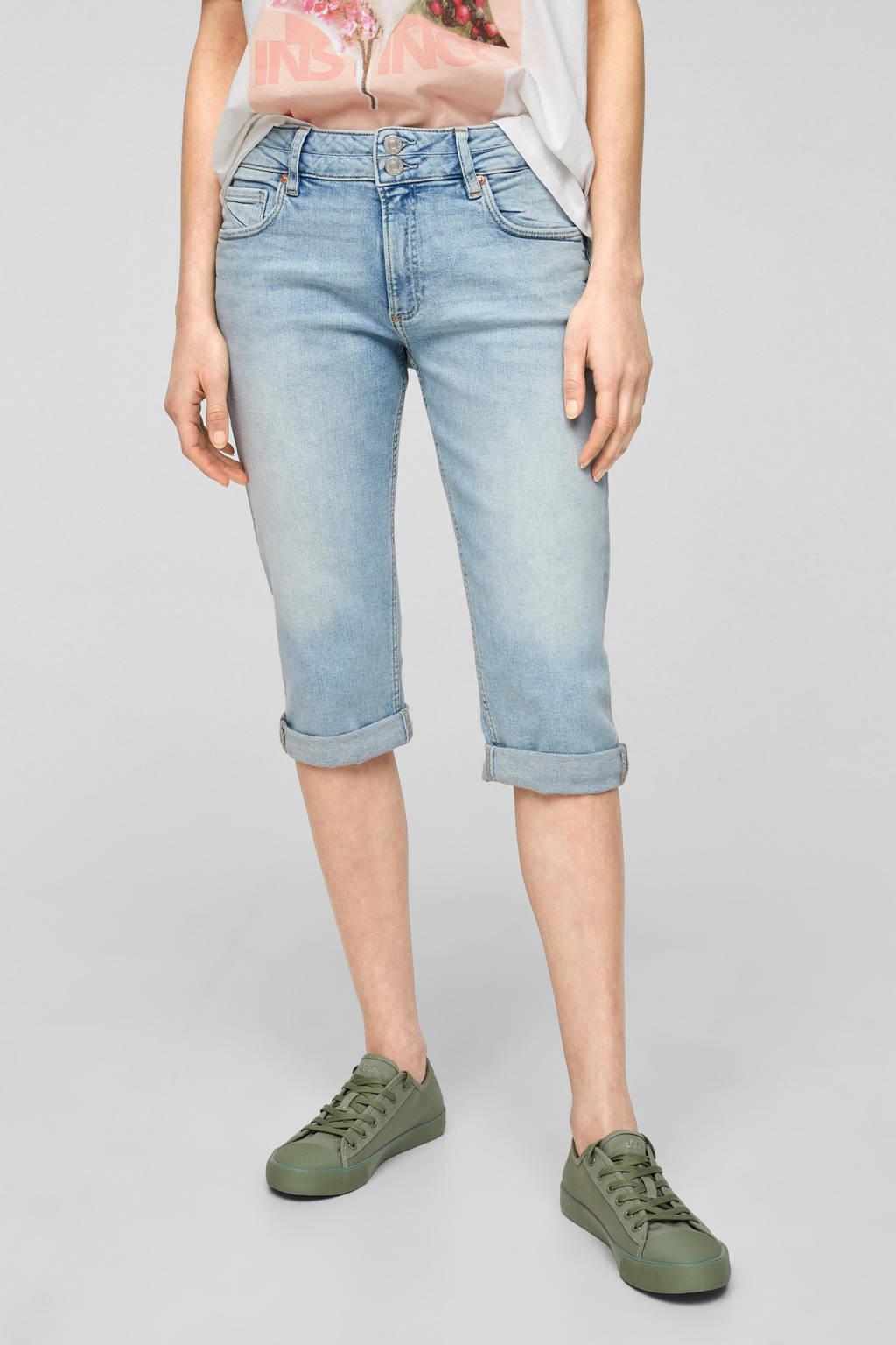 Q/S designed by slim fit capri jeans lichtblauw, Lichtblauw