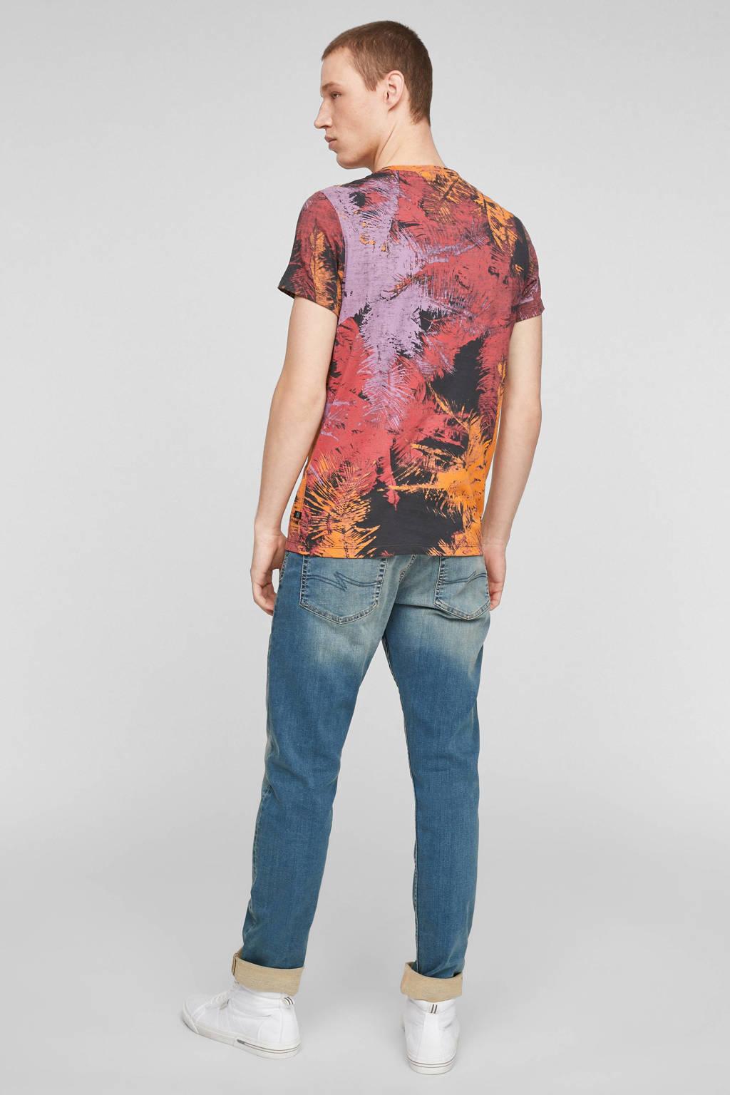 Q/S designed by slim fit T-shirt met all over print multi, Multi