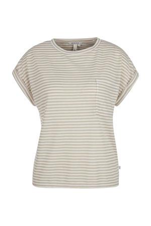 gestreepte T-shirt beige