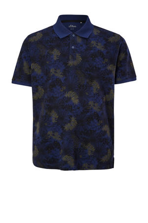 regular fit polo Plus Size met all over print blauw