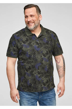 regular fit polo Plus Size met all over print donkergroen