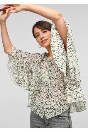 blouse met all over print en vleermuismouwen beige/zwart