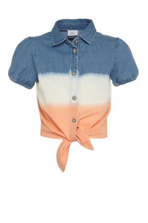 blouse lichtblauw/ecru/oranje