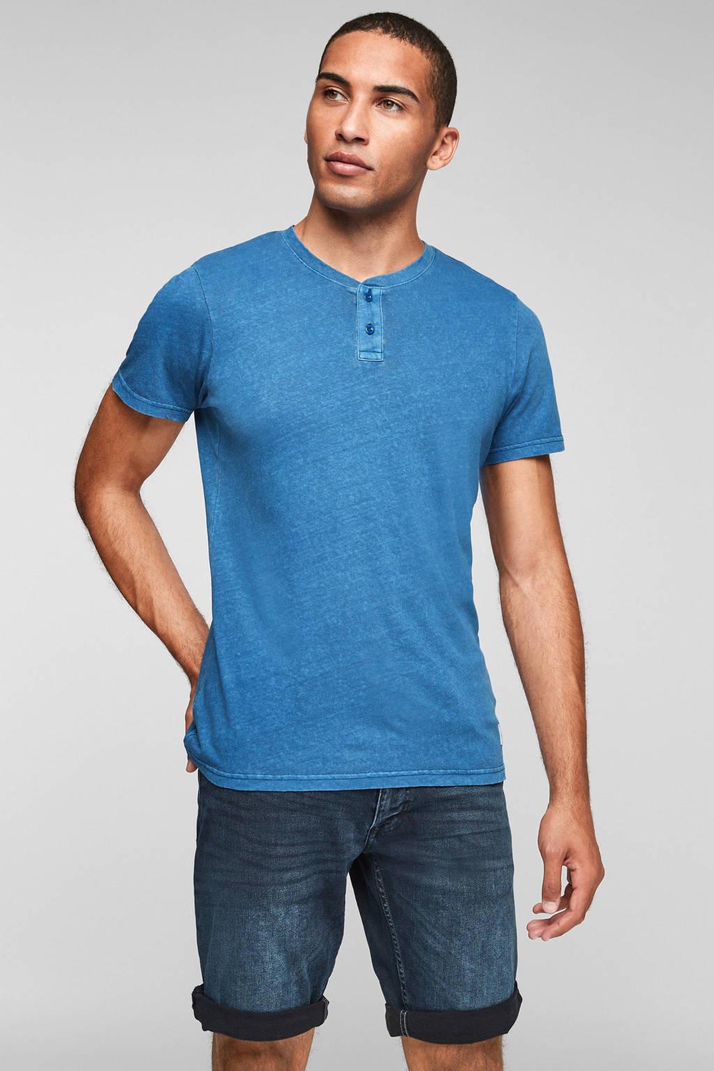 Q/S designed by slim fit T-shirt blauw, Blauw