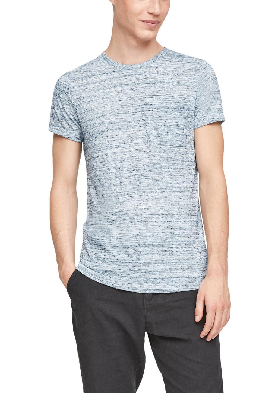 Q/S designed by gemêleerd T-shirt wit/blauw, Wit/blauw