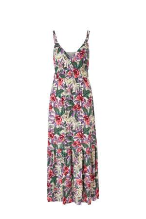 gebloemde maxi jurk roze/paars/groen/ecru