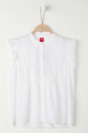 blouse met ruches wit