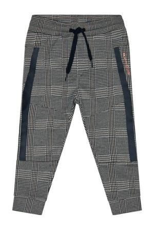 geruite regular fit broek Seth zwart/grijs