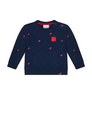 sweater Kenji met all over print donkerblauw