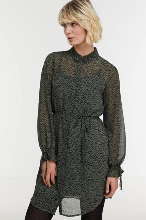 semi-transparante blousejurk Melissa van gerecycled polyester donkergroen