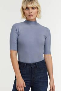 Modström ribgebreid T-shirt Krown lichtblauw, Lichtblauw